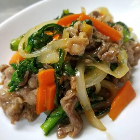 牛肉と春菊の韓国風炒め