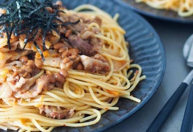 豚キムチ納豆の簡単パスタ