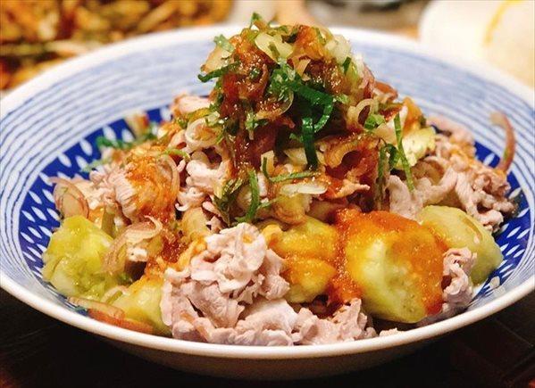 豚しゃぶと焼き茄子のサラダ