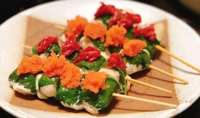 梅と明太子の大葉ササミの串焼き